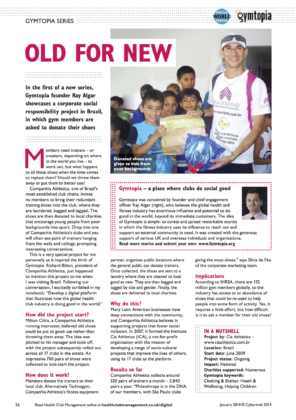 Image showing Gymtopia article featured in Health Club Management magazine