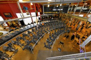 Overhead view of a Gold's Gym